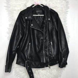 Black Faux Leather Jacket Plus Size Moto